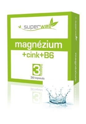 Magnézium+Cink+B6 kapszula 36 db /Superwell/