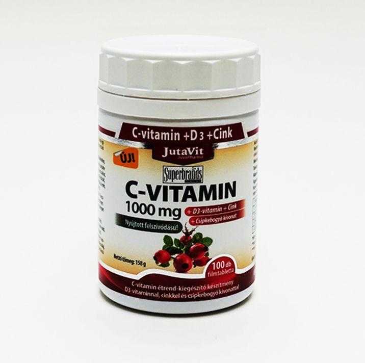 JutaVit C-vitamin 1000 mg nyújtott felszívódású + csipkebogyó + D3 vitamin + Cink, 100 db