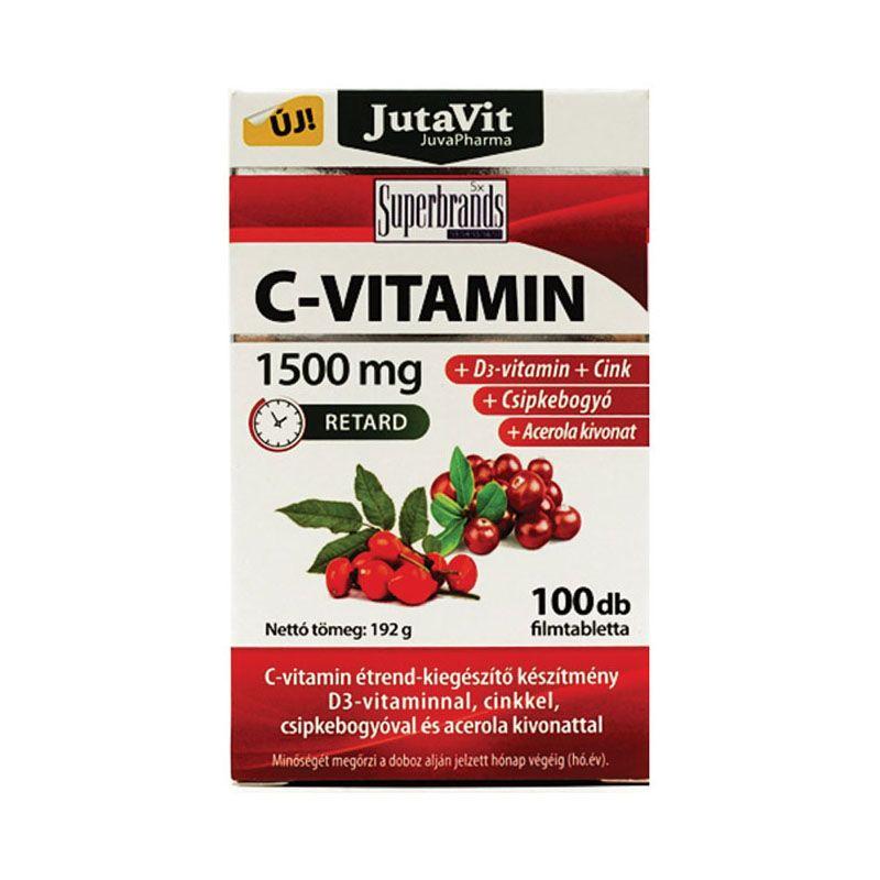 JutaVit C-Vitamin 1500mg +csipkebogyó +Acerola kivonat + D3 vitamin 100db tabletta