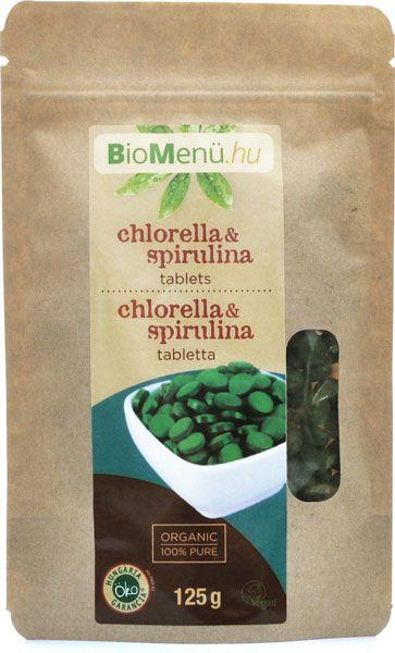 BioMenü Bio Chlorella és Spirulina tabletta 125g (250db)