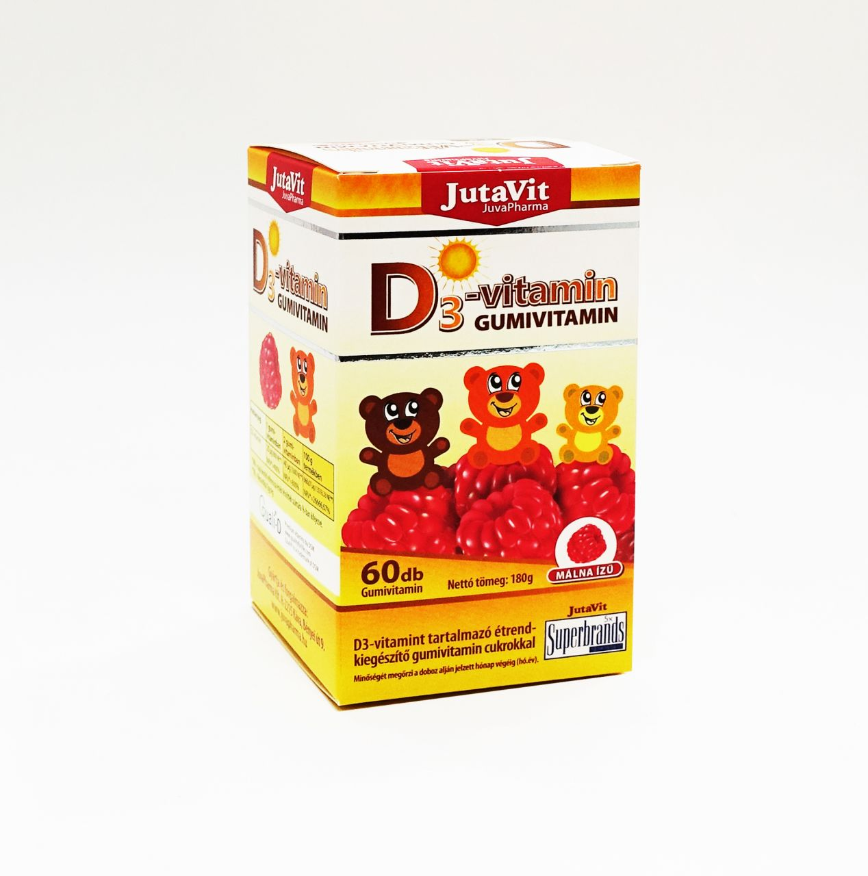 JutaVit D3-vitamin Gumivitamin málna ízű, 60db