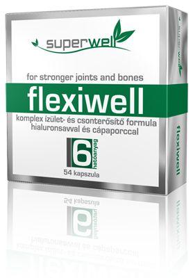 Superwell Flexiwell 54db-os kapszula /Flexiwell:Komplex izület-és csonterősítő formula hialuronsavval és cápaporccal/